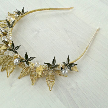 Gold wedding crown, Baroque crystal  head piece,Gold wedding headpiece,Renaissance bridal tiara,Leaf greek headband,Gold floral hairpiece