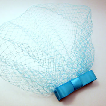 Light Aqua/Teal Vintage Inspired Birdcage Veil Blusher Bow Fascinator - Something Blue Bridal Netting Comb - Sky Blue Themed Bachelorette