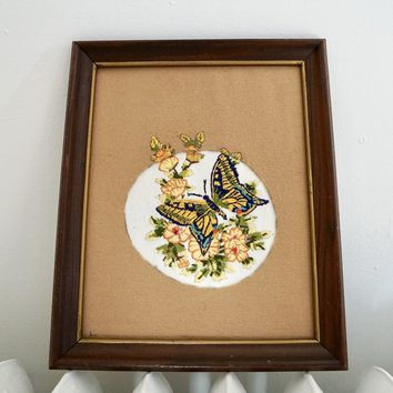 Vintage Hand Embroidered Butterfly Wall Decor