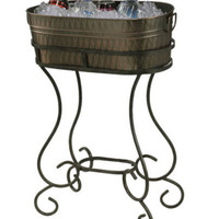 Freestanding Beverage Copper-Plated Steel Cart Stylish Stand Outdoor Furniture