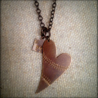 Custom Authentic Antique Baseball Stitch Brass Heart Necklace with Personalized Jersey Tag Number-