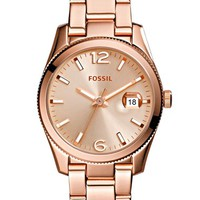 Women's Fossil 'Perfect Boyfriend' Round Bracelet Watch, 28mm - Rose Gold