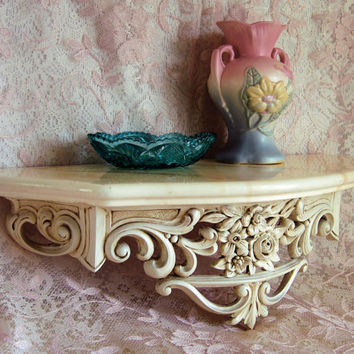 Vintage Wall Shelf Bed Crown Syroco Wood Ivory Antique Finish Shabby Chic French Regency