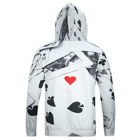 New Fashion Men&'s Long Sleeve 3d Hoodies With Cap Print Poker Casual lovely Hoody Autumn Winter Swe