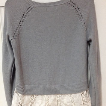 Grey Sweater With Lace Hem (Small/Indie Brands)