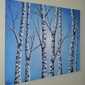 "ORIGINAL Fine Art Textured Birch Trees Painting Aspen Tree Blue Landscape  Home Decor 30x24"" Artwork, Home Office Wall art, unique gift"