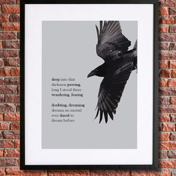 "Edgar Allan Poe Poster Art | 8x10 Instant Download Printable | The Raven | Literary Quote | ""...dreams no mortal ever dared to dream before"""