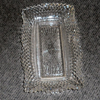 RDT/Rectangular Clear Glass Celery/Asparagus/Tray/Hob Nailed/Saw Tooth Fluted Edging/Manufacturer Unknown/Condiment or Sandwich Serving Dish