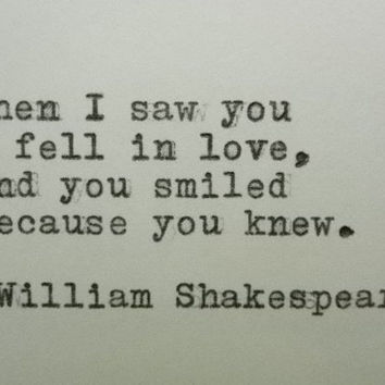 WILLIAM SHAKESPEARE Love Quote William Shakespeare Hand Typed Quote With  Vintage Typewriter Art William Shakespeare Quote