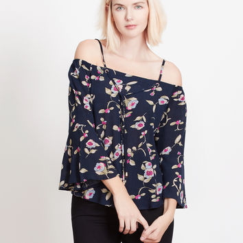 LE3NO Womens Floral Print Off Shoulder Bell Sleeves Flowy Blouse Top