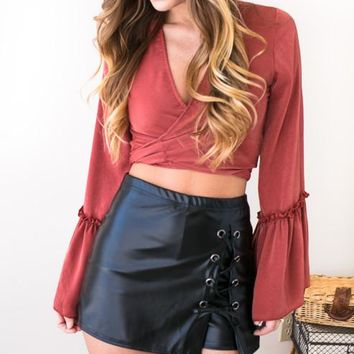 Capture My Attention Pleather Lace Up Skort