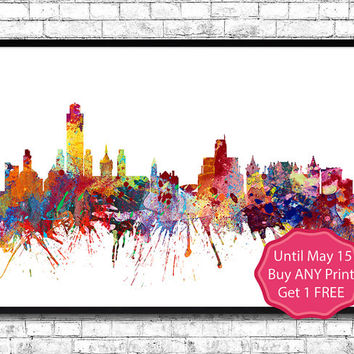Albany New York 2  Watercolor Print City Skyline Los Angeles Poster City Watercolor City Silhouette Wall Hanging Home Decor Giclee wall art