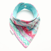 Baby Bandana Bib Scarf in Coral and Aqua Tribal Flannel with Snap Closure for  Girl
