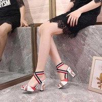 Gucci Sandals Fish Mouth Shoes 95mm Stiletto Heel Leather Casual Women Slippers