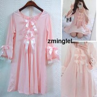 Kawaii Girls Lolita Silk Cotton Sakura Pink Sleep Dress Gown Vintage Princess Bows Cute
