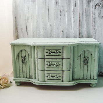 Mint Jewelry Box, Sea Mist Green Vintage Jewelry Chest, Large Jewelry Holder, Unisex Jewelry Storage Box, Lion Hardware, Shabby Chic Box