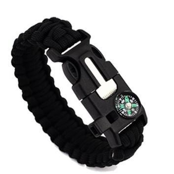 Braided Paracord Survival Bracelets With Compass And Whistle