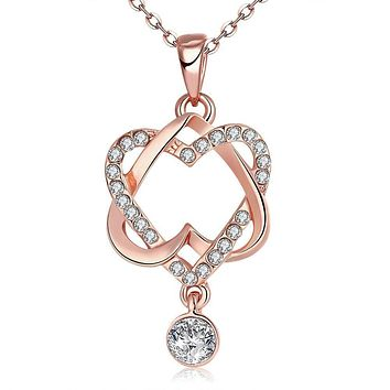 Intertwined Duo Hearts Swarovski Elements Necklace