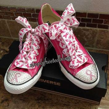 CREYUG7 Breast cancer awareness bling converse