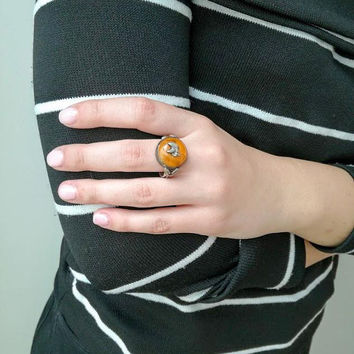 Vintage amber ring, sterling silver and amber ring, orange colour amber with folk art, silver setting, Greek folk art ring, statement ring