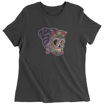 Skull With Hair Day Of The Dead Womens T-shirt