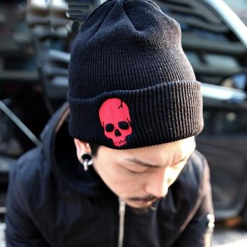 Skull BEANIE for Winter Snow Ski Hat Knitted Punk Style Embroidered
