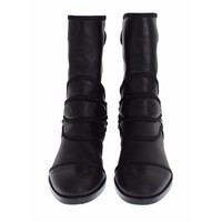 Dolce & Gabbana Black Leather Mid-Calf Flat Boots Shoes