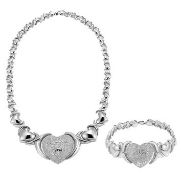 XOXO Link Necklace Matching Heart Bracelet Lab Diamond I Love You Set