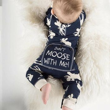 Jumpsuit children's clothing newborn baby Baby Boy Deer Printed long sleeve romper jumpsuit pajamas Costumes