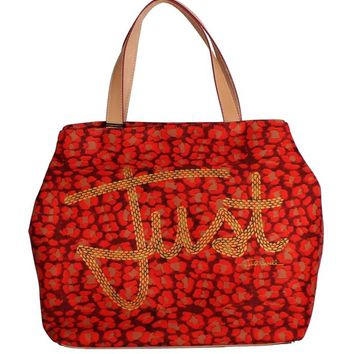 Red Orange Leopard Hand Shopping Tote Bag