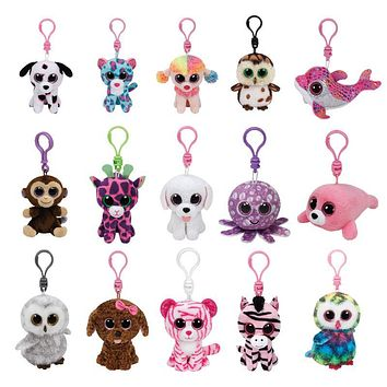 "Ty Beanie Boos Plush Clip 3"" Keychain Cat Dog Owl Unicorn Dragon Giraffe Leopard Fox Rabbit Turtle Stuffed Animal Doll Toy"