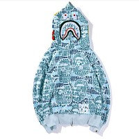 BAPE AAPE Newest Trending Stylish Letter Shark Mouth Hooded Sweater Zipper Cardigan Jacket Coat Blue I13835-1