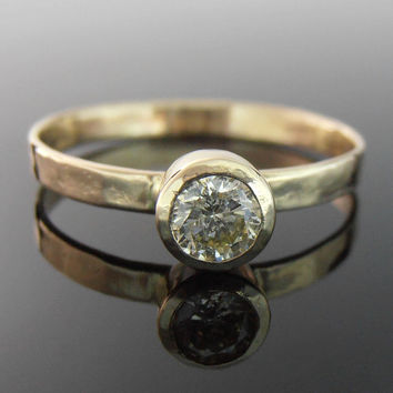 Yellow Diamond and 14k Gold Ring, Yellow Diamond Engagement Ring