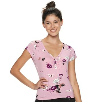 Juniors' Candie's® Flutter Sleeve Floral Top | null