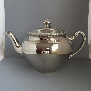 Silver Luster Teapot, Vintage Gray's Pottery Hand Painted Tea Pot, British Collectible Pottery