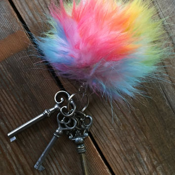 Unicorn Snowcone Rainbow Keychain Fury Monster Ball Pom Charm - For Good Luck!