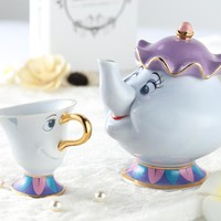 Genuine Cartoon Beauty And The Beast Tea Set Mrs Potts Teapot Chip Cup Sugar Bowl Pot Set Coffee Kettle Birthday Xmas Gift