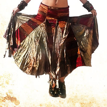 Gypsy Skirt, Bellydance Skirt, Tribal Fusion Skirt, Boho Skirt, Velvet Skirt, Long Gypsy Skirt, Asymmetrical Skirt, Dancing Skirt, Bohemian