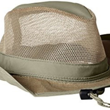 Dorfman Pacific Men's 1 Piece Suplex Pinch Front Safari Hat With Genuine Leather Trim