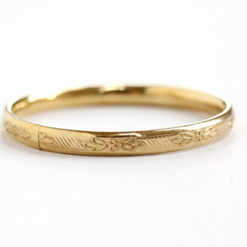Vintage 14k Yellow Gold Filled Flower Design Child's Bracelet - Tiny Baby Bangle Floral Jewelry Hallmarked PPC Princess Pride Creations