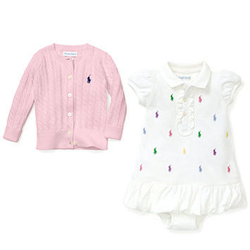 Ralph Lauren Baby Girls' Mini Cable Cardigan & Embroidered Polo Dress | macys.com