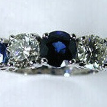 2.70ct Round Sapphire and Diamond Engagement Wedding Ring JEWELFORME BLUE Platinum