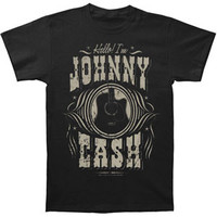 Johnny Cash Men's  Hello I'm Johnny Cash Slim Fit T-shirt Black Rockabilia