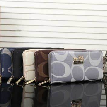 """Coach"" Women Purse Fashion Classic Big Letter Print Long Section Zip Wallet Handbag"