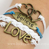 Love bracelet, believe bracelet, heart to heart bracelet, belief and infinty love
