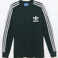 adidas 3-Striped Pique Green Long Sleeve T-Shirt at PacSun.com