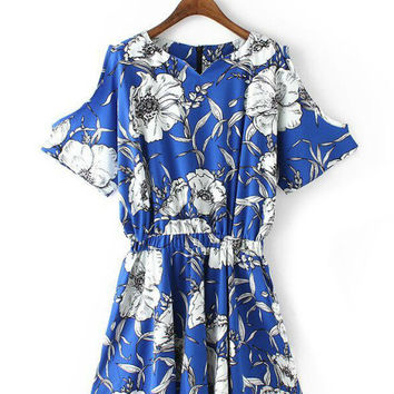 Blue V-neck Floral Short Sleeve Elastic Waist A-Line Pleated Mini Dress
