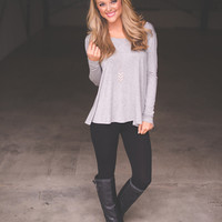 CRISS CROSS TUNIC- GREY