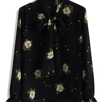 Serene Floral Bow Top in Black