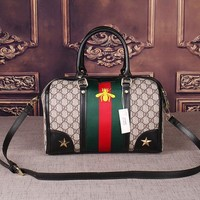 PEAPND Gucci Women Leather Luggage Travel Bags Tote Handbag